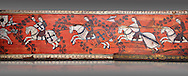 Gothic decorative painted beam panels with gknights on horses, Tempera on wood. National Museum of Catalan Art (MNAC), Barcelona, Spain .<br /> <br /> If you prefer you can also buy from our ALAMY PHOTO LIBRARY  Collection visit : https://www.alamy.com/portfolio/paul-williams-funkystock/gothic-art-antiquities.html  Type -     MANAC    - into the LOWER SEARCH WITHIN GALLERY box. Refine search by adding background colour, place, museum etc<br /> <br /> Visit our MEDIEVAL GOTHIC ART PHOTO COLLECTIONS for more   photos  to download or buy as prints https://funkystock.photoshelter.com/gallery-collection/Medieval-Gothic-Art-Antiquities-Historic-Sites-Pictures-Images-of/C0000gZ8POl_DCqE