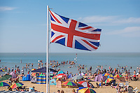 @Licensed to London News Pictures 24/08/2016. Margate, UK. Locals and visitors enjoy themselves on Margate Sands in Thanet yesterday. The seaside town of Margate on the Kent coast enjoying full beaches and with temperatures due to soar again reaching the mid-30s today 25/08/16. Photo credit: Manu Palomeque/LNP