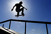 A 17-year-old skater tries to negotiate the 8-frame rail at the Jefferson Park skatepark, in South Seattle. (John Lok / The Seattle Time)