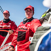 Leg 6 to Auckland, day 08 on board MAPFRE, Tamara Echegoyen looking at the front, Rob Greenhalgh stearing. 14 February, 2018.