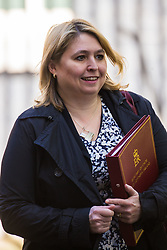 Secretary of State for Northern Ireland Karen Bradley leaves the weekly UK cabinet meeting at 10 Downing Street in London, May 01 2018.