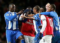 Photo: Tom Dulat/Sportsbeat Images.<br /> <br /> Arsenal v Wigan Athletic. The FA Barclays Premiership. 24/11/2007.<br /> <br /> Emile Heskey (L) of Wigan Athletic pushes away William Gallas (R) of Arsenal.