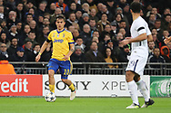 Juventus attacker Paulo Dybala (10) dribbling prior to Juventus striker Gonzalo Higuain (9) scoring during the Champions League match between Tottenham Hotspur and Juventus FC at Wembley Stadium, London, England on 7 March 2018. Picture by Matthew Redman.