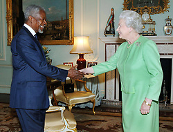 File photo dated 24/10/07 of United Nations Secretary General Kofi Annan during a meeting with Queen Elizabeth II at Buckingham Palece. Annan, one of the world's most celebrated diplomats and a charismatic symbol of the United Nations who rose through its ranks to become the first black African secretary-general, has died.