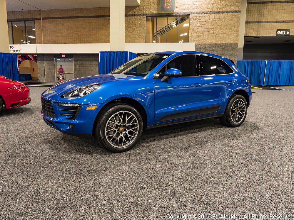 CHARLOTTE, NC, USA - NOVEMBER 17, 2016: Porsche Macan on display during the 2016 Charlotte International Auto Show at the Charlotte Convention Center in downtown Charlotte.