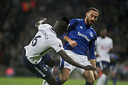 Cenk Tosun of Everton goes in for a 50/50 barge with Davinson Sanchez of Tottenham Hotspur.  <br /> Premier league match, Tottenham Hotspur v Everton at Wembley Stadium in London on Saturday 13th January 2018.<br /> pic by Kieran Clarke, Andrew Orchard sports photography.