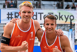 Stefan Boermans (1) of The Netherlands, Yorick de Groot (2) of The Netherlands in action during CEV Continental Cup Final Day 1 - Women on June 23, 2021 in The Hague