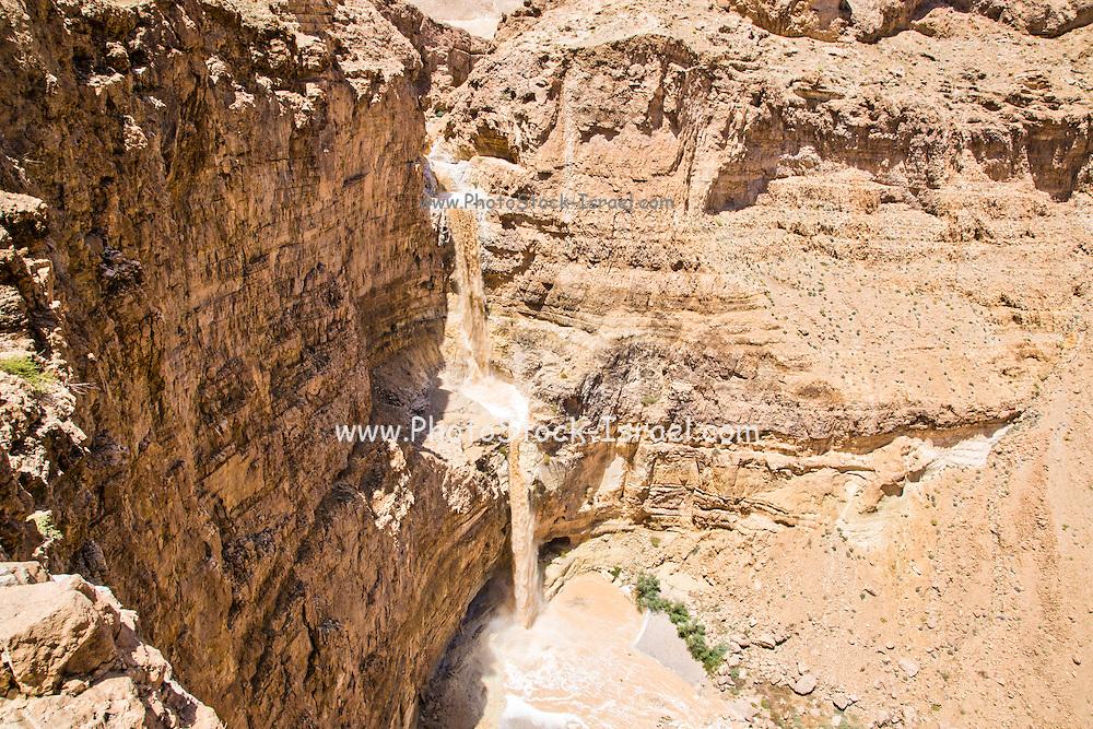 Israel, Judean Desert, a flash flood in Wadi Tzeelim