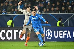 SINSHEIM, Nov, 28 2018  Nico Schulz (R) of Hoffenheim vies with Taras Stepanenko of Shakhtar Donetsk during the UEFA Champions League Group F match between TSG 1899 Hoffenheim and FC Shakhtar Donetsk at Rhein-Neckar-Arena, Sinsheim, Germany, on Nov. 27, 2018. Shakhtar Donetsk won 3-2. (Credit Image: © Ulrich Hufnagel/Xinhua via ZUMA Wire)