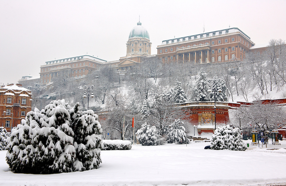 Budapest Castle in the winter snow, Budapst stock photos .<br /> <br /> Visit our HUNGARY HISTORIC PLACES PHOTO COLLECTIONS for more photos to download or buy as wall art prints https://funkystock.photoshelter.com/gallery-collection/Pictures-Images-of-Hungary-Photos-of-Hungarian-Historic-Landmark-Sites/C0000Te8AnPgxjRg
