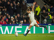 """Twickenham, United Kingdom. George FORD, kicking the conversion for  Jonathan JOSEPH""""S, touch down,  during the Old Mutual Wealth Series Rest Match: England vs Australia, at the RFU Stadium, Twickenham, England, <br /> <br /> Saturday  03/12/2016<br /> <br /> [Mandatory Credit; Peter Spurrier/Intersport-images]"""