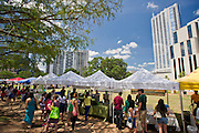 People gather at the Farmer's Market in downtown Austin, Texas.