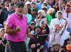 April 8, 2018 - Augusta, Georgia, U.S. - PATRICK REED makes a par putt on the 18th green to win the Masters at 15-under par at Augusta National Golf Club on Sunday. (Credit Image: © Curtis Compton/TNS via ZUMA Wire)