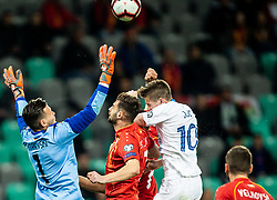 Stole Dimitrievski of Macedonia, Egzon Bejtulai of Macedonia vs Miha Zajc of Slovenia during football match between National teams of Slovenia and North Macedonia in Group G of UEFA Euro 2020 qualifications, on March 24, 2019 in SRC Stozice, Ljubljana, Slovenia. Photo by Vid Ponikvar / Sportida