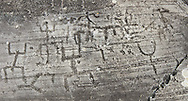 """Petroglyph, rock carving, of a large group of schematic human figures in the so called """"Prayer"""" position. Carved by the ancient Camunni people in the Late Copper Age between 3200- 2200 BC. Rock no 24,  Foppi di Nadro, Riserva Naturale Incisioni Rupestri di Ceto, Cimbergo e Paspardo, Capo di Ponti, Valcamonica (Val Camonica), Lombardy plain, Italy .<br /> <br /> Visit our PREHISTORY PHOTO COLLECTIONS for more   photos  to download or buy as prints https://funkystock.photoshelter.com/gallery-collection/Prehistoric-Neolithic-Sites-Art-Artefacts-Pictures-Photos/C0000tfxw63zrUT4<br /> If you prefer to buy from our ALAMY PHOTO LIBRARY  Collection visit : https://www.alamy.com/portfolio/paul-williams-funkystock/valcamonica-rock-art.html"""