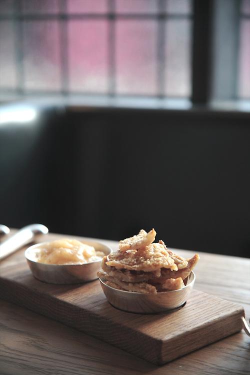 Pork Cracklings, HIX Restaurant, 66-70 Brewer St, Soho, London, United Kingdom.CREDIT: Vanessa Berberian for The Wall Street Journal.HIX