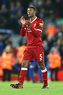 Georginio Wijnaldum of Liverpool applauds the fans after the game. Premier League match, Liverpool v Leicester City at the Anfield stadium in Liverpool, Merseyside on Saturday 30th December 2017.<br /> pic by Chris Stading, Andrew Orchard sports photography.