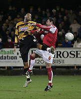 Photo: Barry Bland.<br />Boston United v Swindon Town. The FA Cup. 16/11/2005.<br />Jason Lee and Steve Jenkins.
