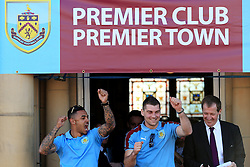 Burnley's Andre Gray and Sam Vokes celebrate with the fans - Mandatory by-line: Matt McNulty/JMP - 09/05/2016 - FOOTBALL - Burnley Town Hall - Burnley, England - Burnley FC Championship Trophy Presentation