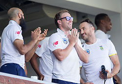 Durban. 040318.  AB Morkel and team celebrates Aiden Markram of the Proteas  100 runs during day 4 of the 1st Sunfoil Test match between South Africa and Australia at Sahara Stadium Kingsmead on March 04, 2018 in Durban, South Africa