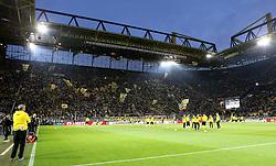 Borussia Dortmund create the atmosphere inside the stadium during the warm up - Mandatory by-line: Robbie Stephenson/JMP - 07/04/2016 - FOOTBALL - Signal Iduna Park - Dortmund,  - Borussia Dortmund v Liverpool - UEFA Europa League Quarter Finals First Leg