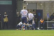 Millwall players celebrating scoring fouth goal 4-0 during the EFL Sky Bet League 1 match between Millwall and Bristol Rovers at The Den, London, England on 12 November 2016. Photo by Matthew Redman.