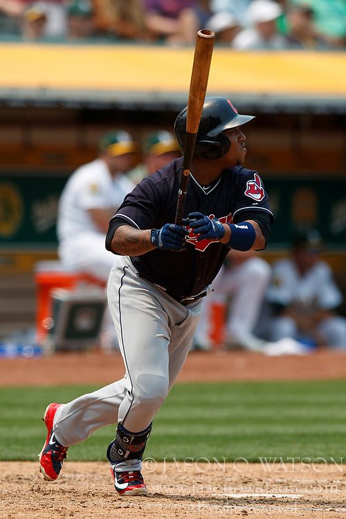 OAKLAND, CA - JULY 01:  Jose Ramirez #11 of the Cleveland Indians hits an RBI double against the Oakland Athletics during the fifth inning at the Oakland Coliseum on July 1, 2018 in Oakland, California. The Cleveland Indians defeated the Oakland Athletics 15-3. (Photo by Jason O. Watson/Getty Images) *** Local Caption *** Jose Ramirez