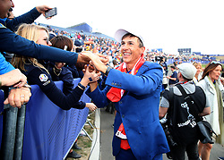 Team Europe's Thorbjorn Olesen celebrates after the Singles match on day three of the Ryder Cup at Le Golf National, Saint-Quentin-en-Yvelines, Paris.
