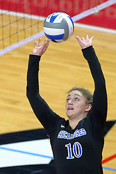 23 November 2017:  Rachel Griffin during a college women's volleyball match between the Drake Bulldogs and the Indiana State Sycamores in the Missouri Valley Conference Tournament at Redbird Arena in Normal IL (Photo by Alan Look)