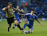 Photo: Steve Bond/Richard Lane Photography. Leicester City v Huddersfield Town. Coca Cola League One. 24/01/2009. Matty Fryatt (R) tries to get the ball from Robbie Williams (L)