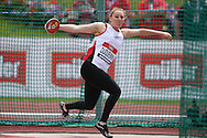 Shadine Duquemin competing in the Women's Discus Throw Final. The British Championships 2016, athletics event at the Alexander Stadium in Birmingham, Midlands  on Sunday 26th June 2016.<br /> pic by John Patrick Fletcher, Andrew Orchard sports photography.