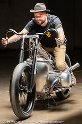 Alan Stulberg on The Birdcage, an artful custom that utilizes BMW's new big boxer engine purported to be 1,800 cc (BMW will not confirm this yet) that was designed and built by Alan and his team at Revival Cycles Austin. It was Alan's intent to keep an open design so the power plant can be seen from every angle. The Handbuilt Show. Austin, Texas USA. Friday, April 12, 2019. Photography ©2019 Michael Lichter.