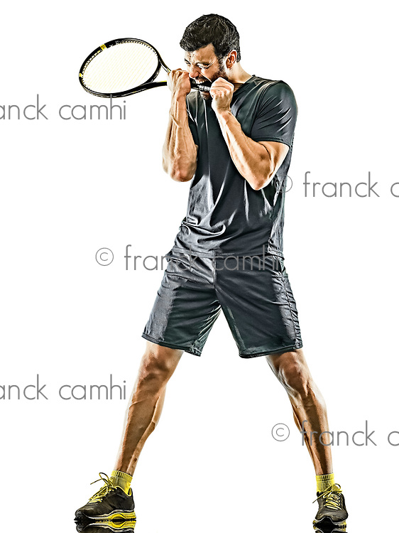 one caucasian mature tennis player man displeased loosing in studio isolated on white background
