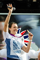 © Licensed to London News Pictures. 05/08/2012. London, UK.     Team GB gold medal winning cyclist Dani King on-stage at BT London Live, Hyde Park. Dani won a gold medal yesterday as part of the womens team pursuit.  Photo credit : Richard Isaac/LNP