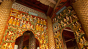 Sculptures and carvings in an alcove at the Shwe Zigon Zedi. The Shwezigon Pagoda is one of the oldest and most impressive monuments of Bagan
