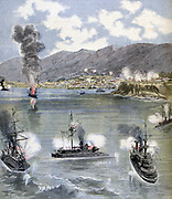 Civil war  in Chile, 16 January-18 September 1891. Attack on Valparaiso by the Chilean Navy which supported Congress against President Jose Balmceda.  From 'Le Petit Journal', Paris, 13 June 1891.
