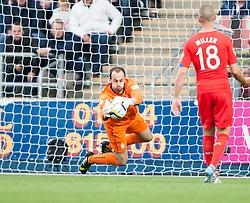 Falkirk's keeper Jamie MacDonald. Falkirk 0 v 2 Rangers, Scottish Championship game played 15/8/2014 at The Falkirk Stadium.