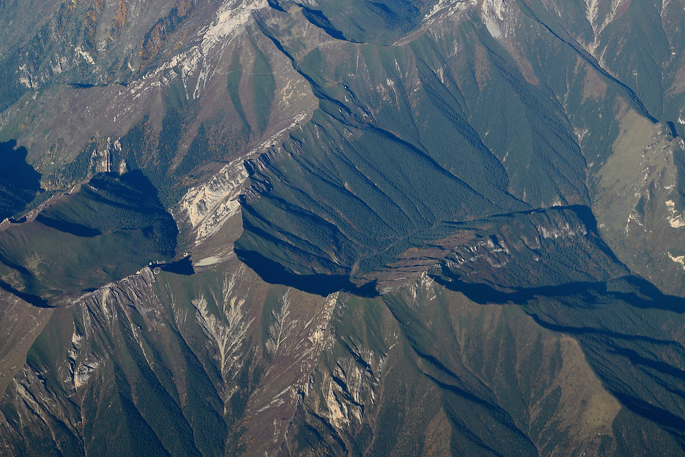 Aerial over the Tien-Shan mountains, China