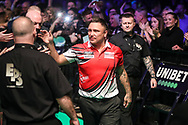 Gerwyn Price walk on during the Unibet Premier League darts at Motorpoint Arena, Cardiff, Wales on 20 February 2020.
