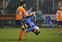 Jack Marriott of Peterborough United is tackled by Alan Sheehan of Luton Town - Mandatory by-line: Joe Dent/JMP - 09/01/2018 - FOOTBALL - Kenilworth Road - Luton, England - Luton Town v Peterborough United - Checkatrade Trophy