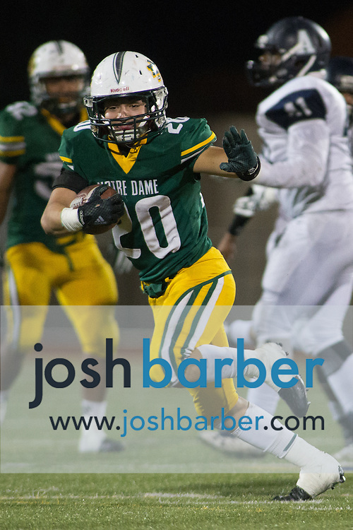 Notre Dame's Christian Gurrola (20) during the CIF-SS Boys Football Northwest Division Semifinal at J.W. North High School on Friday, November 27, 2015 in Riverside, California. (Photo/Josh Barber)
