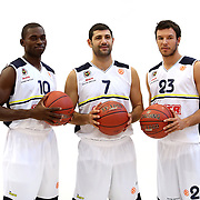 Fenerbahce Ulker's (L-R) Romain Sato, Omer Onan, Can Maxim Mutaf seen during their Euroleague Media Day at Fenerbahce Ulker Sports Arena in Istanbul, Turkey, Wednesday, September 26, 2012. Photo by TURKPIX