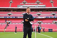 AFC Wimbledon manager Neal Ardley walking onto the pitch during the The FA Cup 3rd round match between Tottenham Hotspur and AFC Wimbledon at Wembley Stadium, London, England on 7 January 2018. Photo by Matthew Redman.