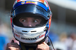 March 10, 2017 - St. Petersburg, Florida, U.S. - DIRK SHADD   |   Times  .IndyCar driver Alexander Rossi straps on his helmet before climbing into his car for the IndyCar practice session on the opening day of the Firestone Grand Prix of St. Petersburg. (Credit Image: © Dirk Shadd/Tampa Bay Times via ZUMA Wire)