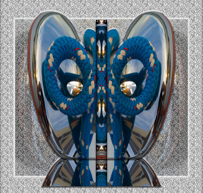 """""""Masquerade 3"""", derivative image created from a photo of a rope winch on a sailboat, Baja, Mexico"""