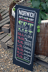 Set list for the live music at Redwell Brewery Art Car Boot Fair, annual festival showcasing local artists. Norwich June 2018