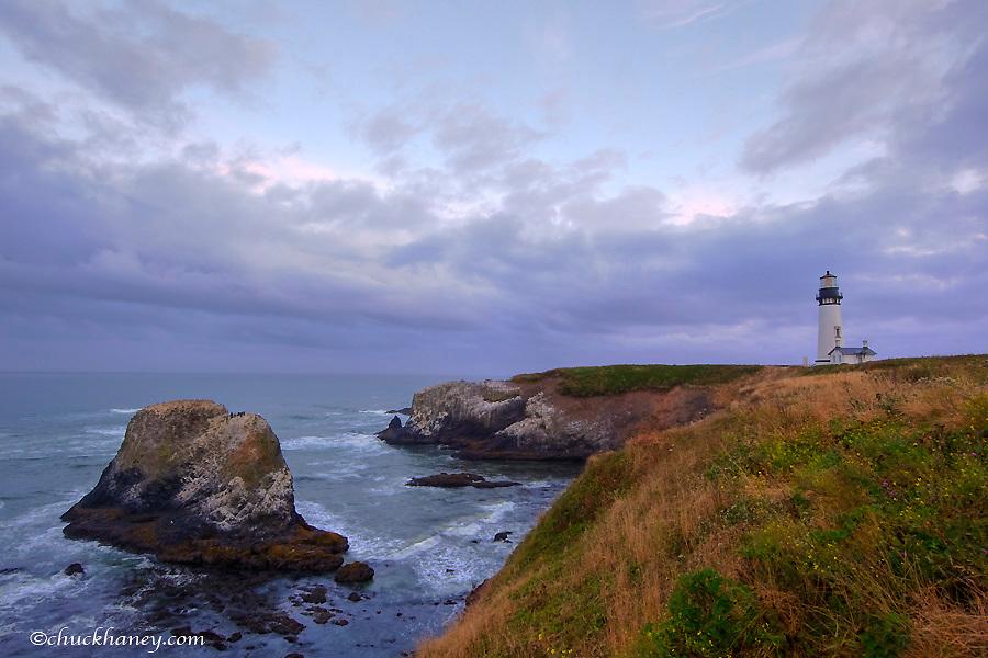 Yaquina Head Lighthouse built in 1873 and 93 feet tall near Newport, Oregon, USA