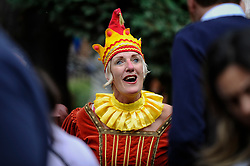 © Licensed to London News Pictures. 13/05/2018. LONDON, UK. A puppeteer at the Covent Garden May Fayre at St Paul's Church, Bedford Street, known as the actors' church.  Now in its 43rd year, Punch and Judy professors and puppeteers celebrate the art of puppetry on Mr Punch's 356th birthday, near to where writer Samuel Pepys first saw Mr Punch in May 1662.  Photo credit: Stephen Chung/LNP