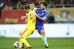 (l-r) Mihai Balasa of Romania, Davy Propper of Holland during the friendly match between Romania and The Netherlands on November 14, 2017 at Arena National in Bucharest, Romania