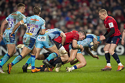 January 19, 2019 - Limerick, Ireland - Jack Nowell of Exeter with the ball tackled by Peter O'Mahony of Munster during the Heineken Champions Cup match between Munster Rugby and Exeter Chiefs at Thomond Park in Limerick, Ireland on January 19, 2019  (Credit Image: © Andrew Surma/NurPhoto via ZUMA Press)